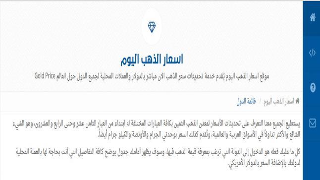 موقع للتعرف على سعر الذهب اليوم في السعودية والدول العربية بالعملات المحلية والدولار الامريكي
