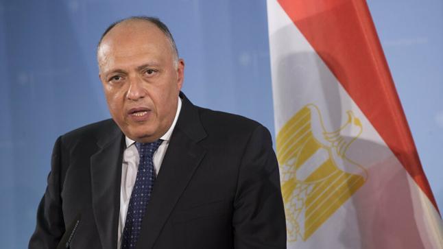 وزير الخارجية يؤكد مصر لن تسمح بتعرض أمنها القومى للخطر نتيجةً التطورات فى ليبيا